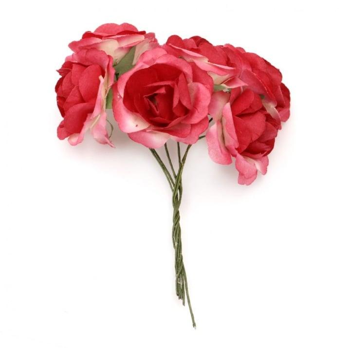Роза букет хартия и тел 35x80 мм къдрава червена -6 броя
