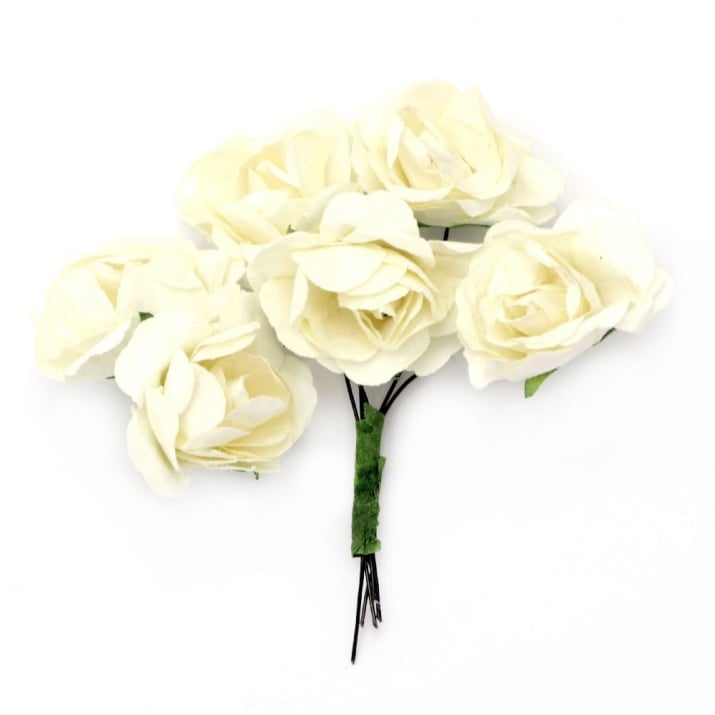 Роза букет хартия и тел 35x80 мм къдрава шампанско -6 броя
