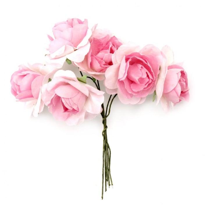 Роза букет хартия и тел 35x80 мм къдрава розова светла -6 броя