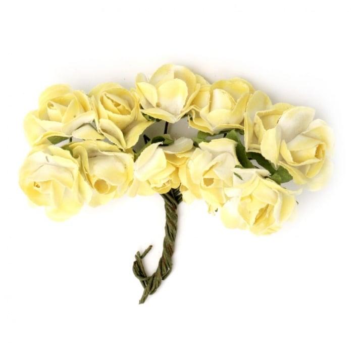 Роза букет хартия и тел 18x70 мм бяло и жълто -12 броя