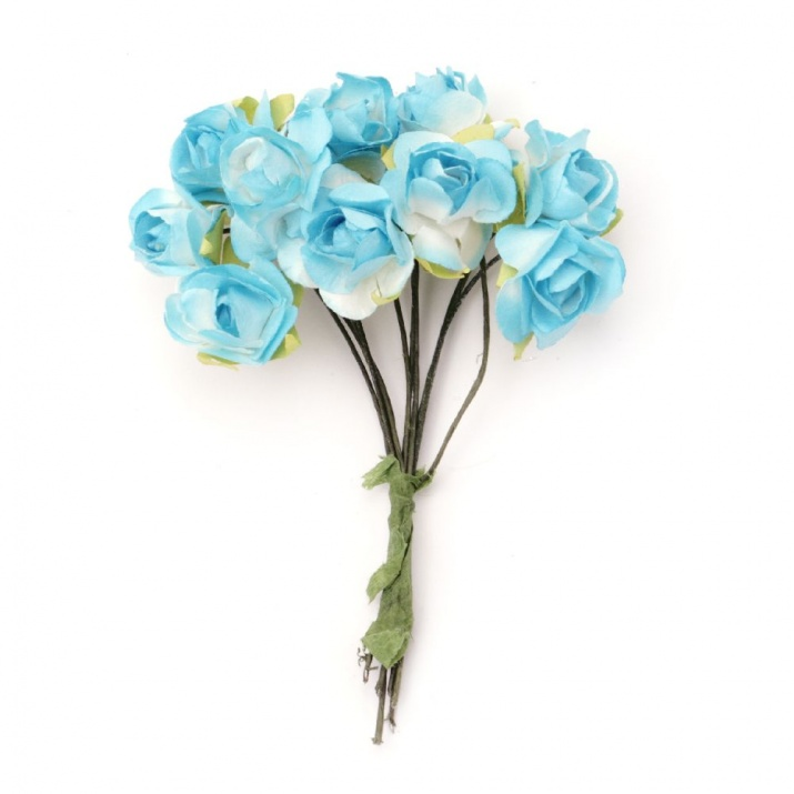 Роза букет хартия и тел 18x70 мм бяло и синьо -10 броя