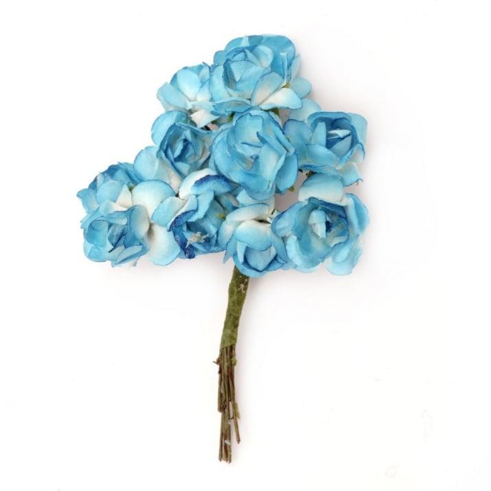 Роза букет хартия и тел 18x70 мм бяло и синьо 1 -12 броя