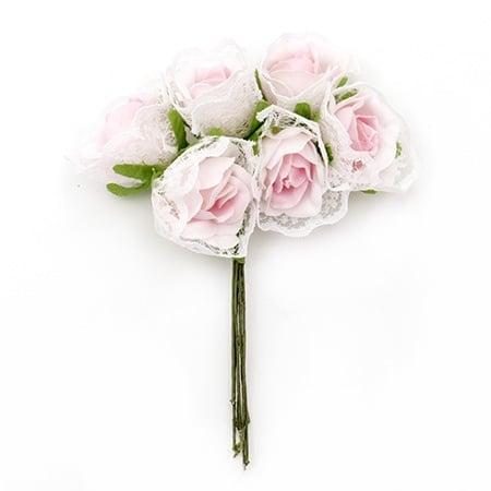 Роза букет текстил и дантела 30x115 мм розова светла -6 броя