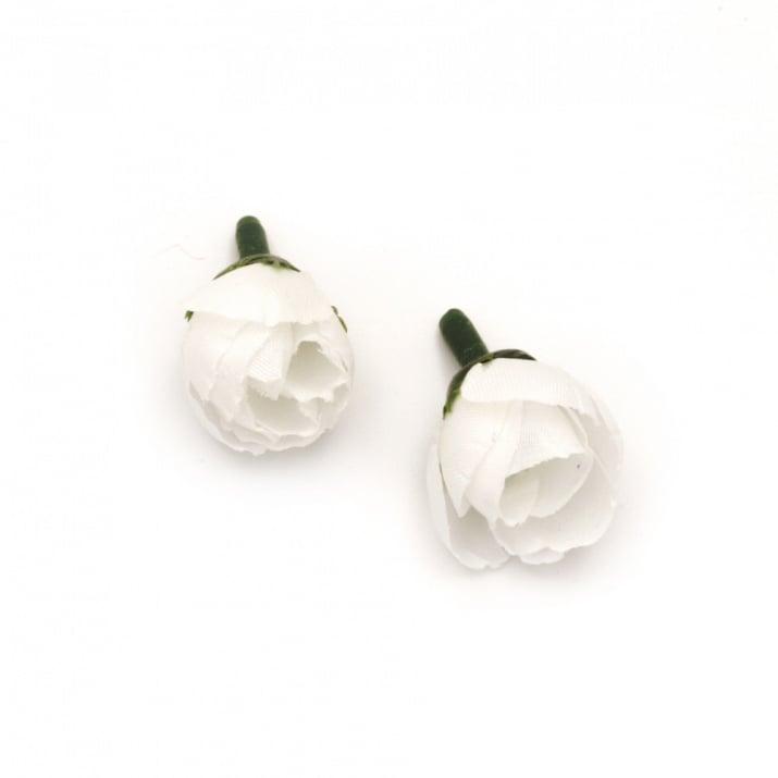 Цвят роза 20 мм с пънче за монтаж бяла - 10 броя
