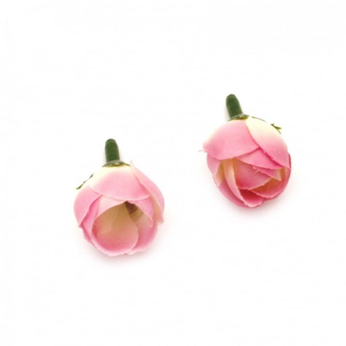 Цвят роза 20 мм с пънче за монтаж бяла с розово лилаво - 10 броя