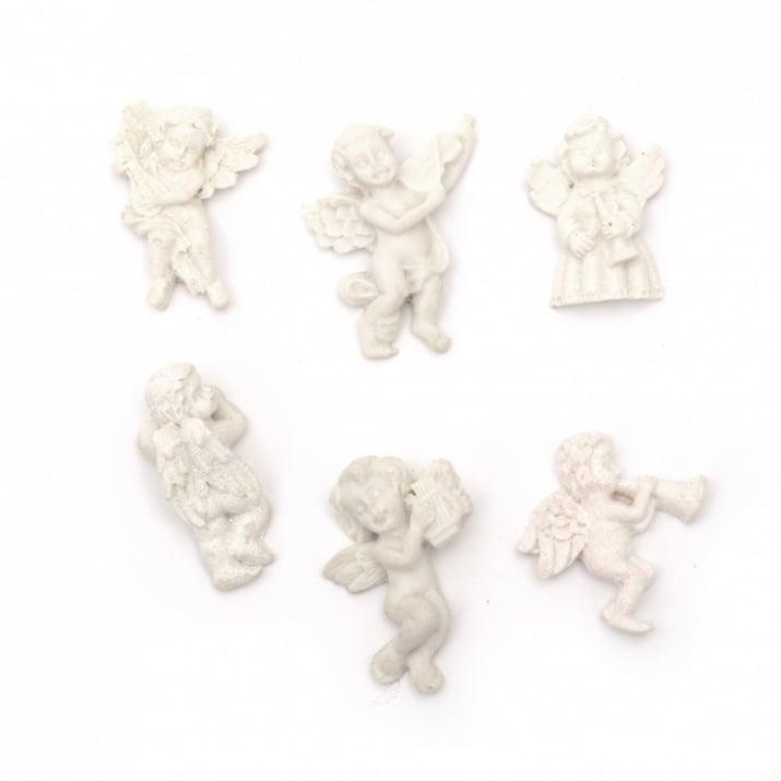 Фигурка полирезин ангелче музикант 28±36x16±30x6±13 мм цвят бял АСОРТЕ - 2 броя