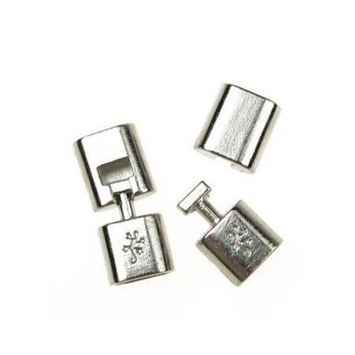 Закопчалка метална две части 32х14x8 мм дупка 6x11 мм цвят сребро-1 комплект