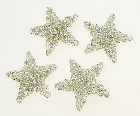Метален елемент звезда цвят бял -4 броя