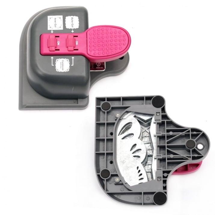 Перфоратор /пънч/ за дантелени подложки 125x55 мм 3 в 1 за картон до 160 гр/м2 мотив с листа