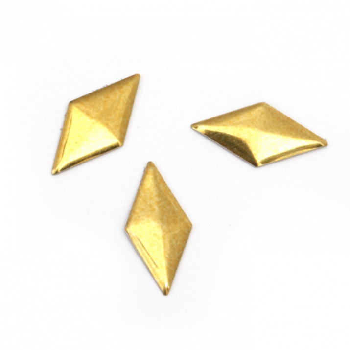 Метален елемент ромб с лепило 16х8х1 мм цвят злато - 50 броя