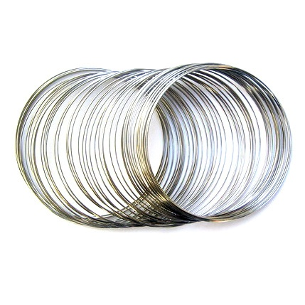 Тел за гривни 60х0.5 мм цвят сребро -50 навивки ~16 грама