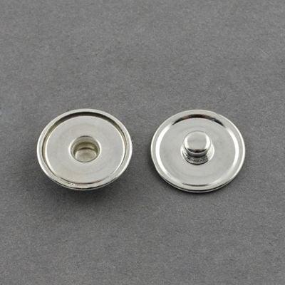 Метална основа за Тик-так копче 18 мм, плочка за вграждане 16 мм цвят сребро -6 броя