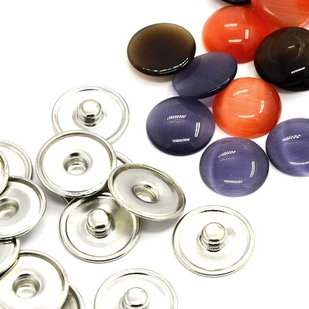 Комплект метална основа за Тик-так копче 18 мм и кабошон резин котешко око АСОРТЕ