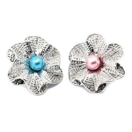 Копче Тик-так 25x23x12 мм метал цвете с перла АСОРТЕ