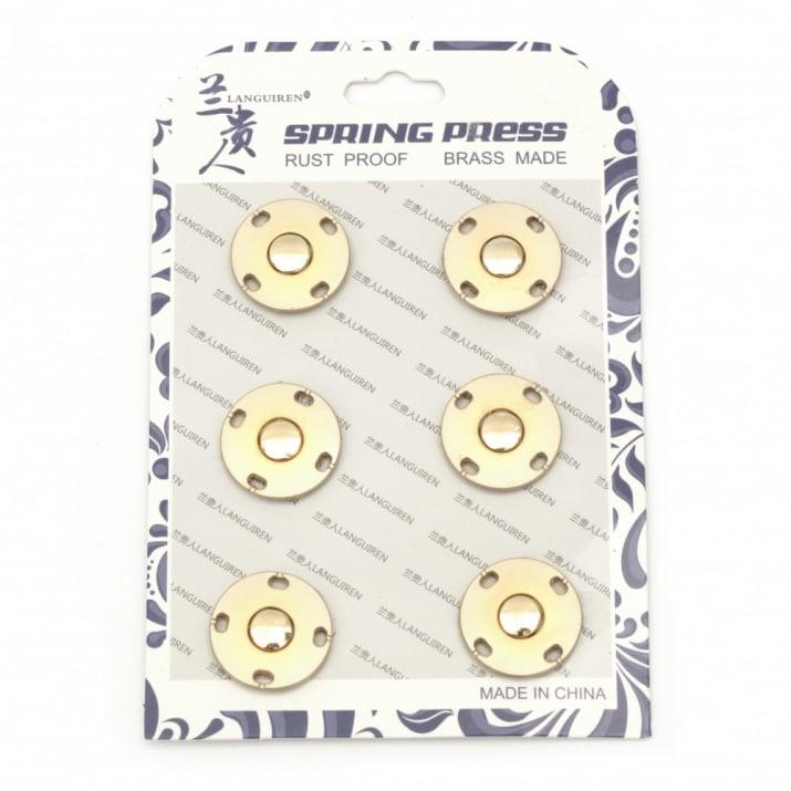 Копче метал тик-так кръг 21x6 мм дупка 7 мм цвят злато -1 брой