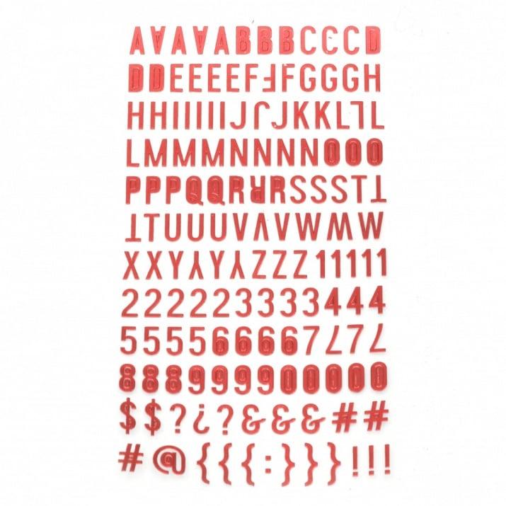 Самозалепващи стикери букви цифри и знаци 10x2~10 мм цвят червен -145 броя