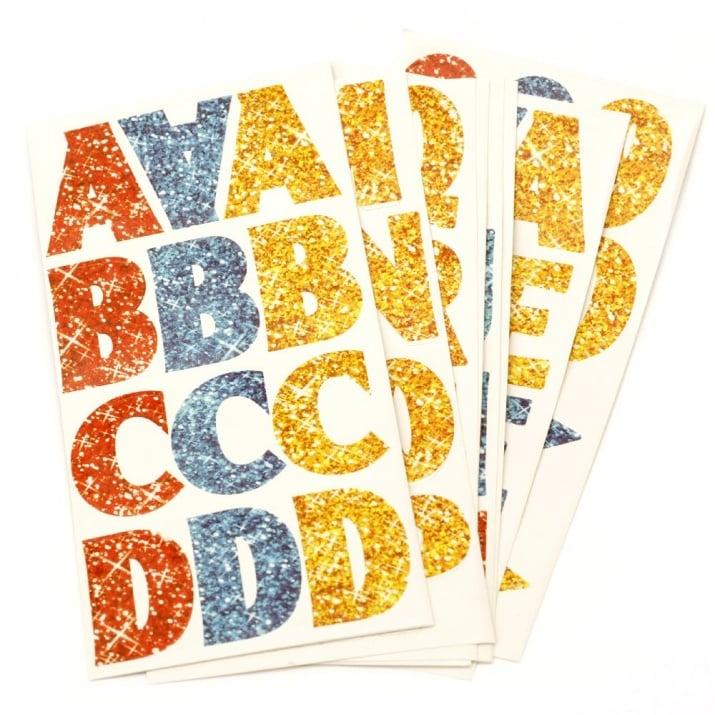 Самозалепващи стикери азбука и цифри 14 листа ~170 стикера