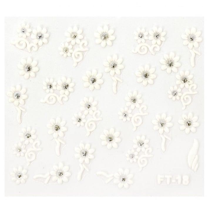Стикери за нокти 3D цветя с брокат АСОРТЕ бели