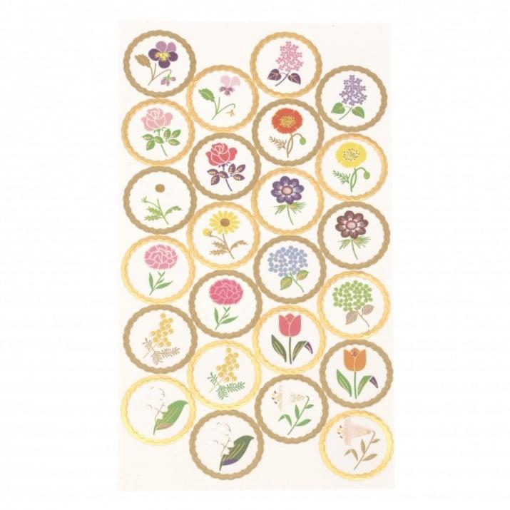 Самозалепващи хартиени стикери за декорация релефни цветя златен кант -24 броя