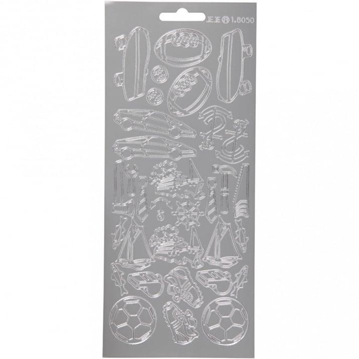 Самозалепващи стикери с мотив Creativ 10x23 см  сребро -1 лист