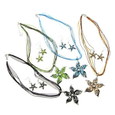 Комплект гердан обеци метал текстил кристали голям цветен