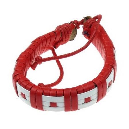 Гривна мартеница кожа естествена + изкуствена бяло и червено 12 броя