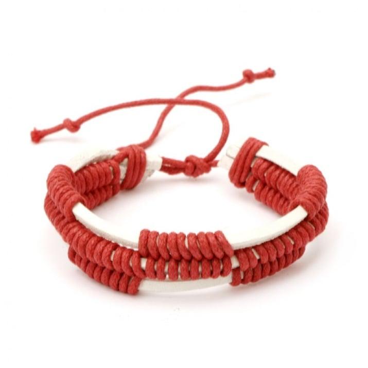 Гривна мартеница кожа естествена и шнур памучен бяло и червено 12 броя