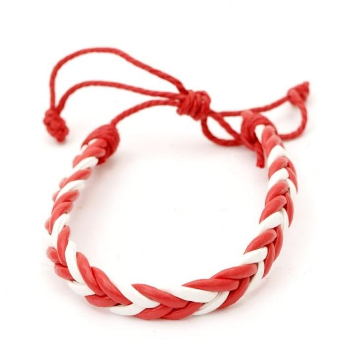 Гривна мартеница кожа изкуствена и шнур памучен бяло и червено 12 броя