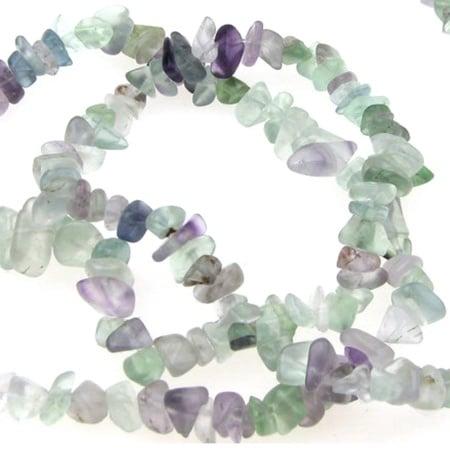 Наниз полускъпоценни камъни чипс 5-7 мм ~90 см ФЛУОРИТ