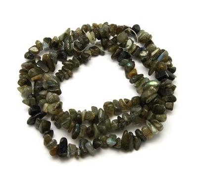 Наниз естествени камъни чипс 8-12 мм ~90 см ЛАБРАДОРИТ