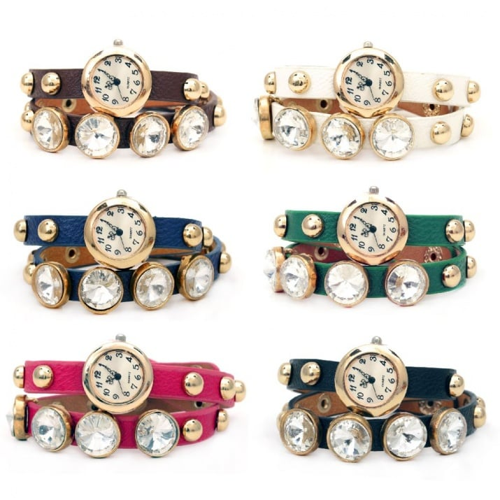 Часовник естествена кожа метал цвят злато 410x10 мм АСОРТЕ