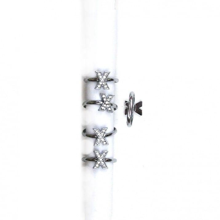 Пръстен метал кристали - Х