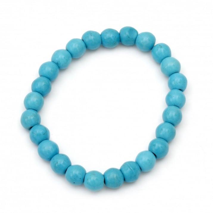 Гривна естествен камък ТЮРКОАЗ синтетичен син топче 8 мм 52 мм еластична