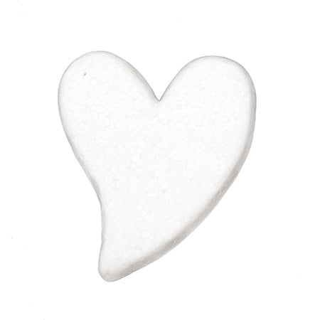 Сърце стиропор 75x59x11 мм плоско за декорация -4 броя