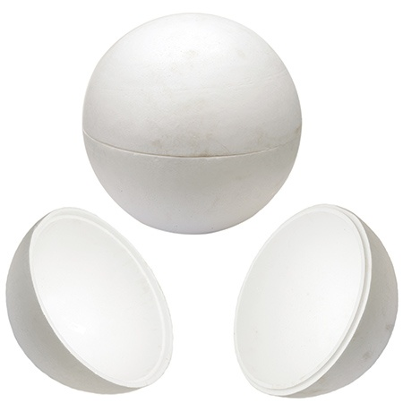 Топка стиропор 600 мм за декорация бяла 2 части -1 брой