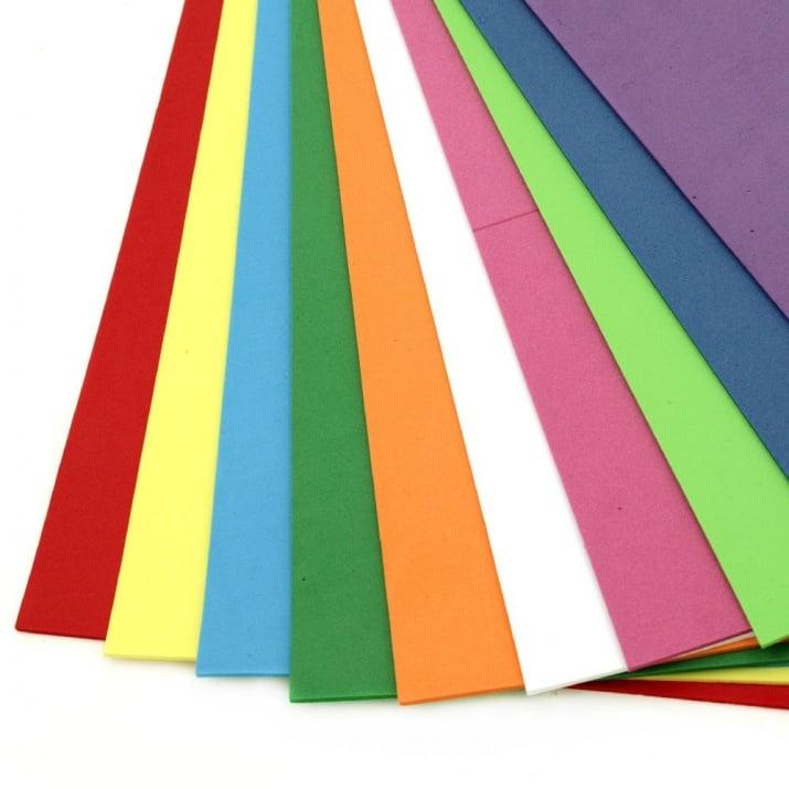 EVA материал /микропореста гума/ 2 мм А4 20х30 см АСОРТЕ цветове -10 листа