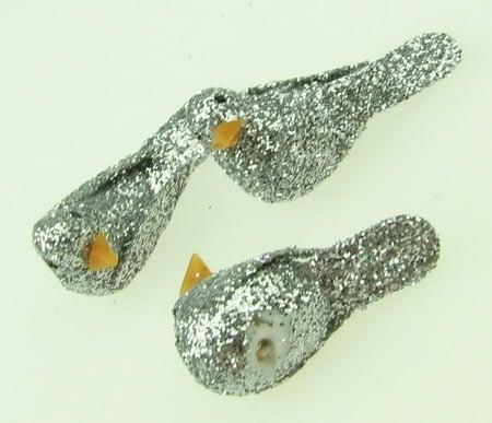 Гълъб стиропор 32х17 мм брокат сребро -5 броя