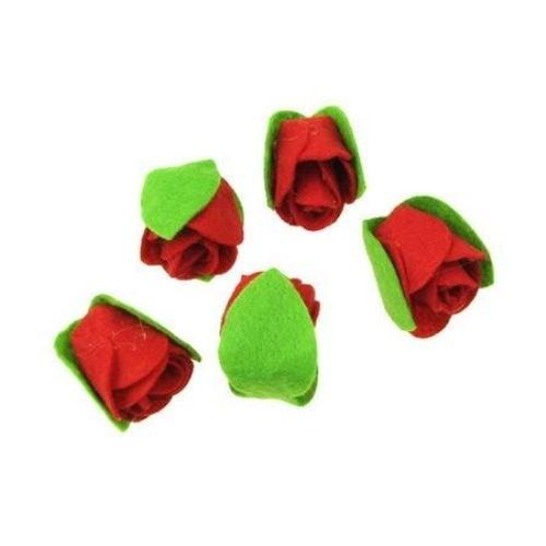 Роза две листа филц 30х25 мм червена -5 броя