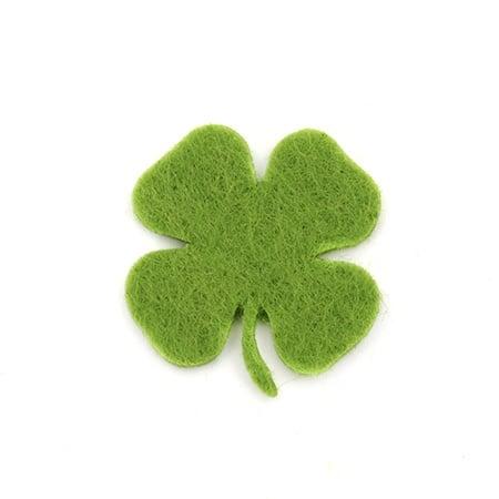 Детелина с дръжка от филц 26х3 мм зелена тревисто -20 броя