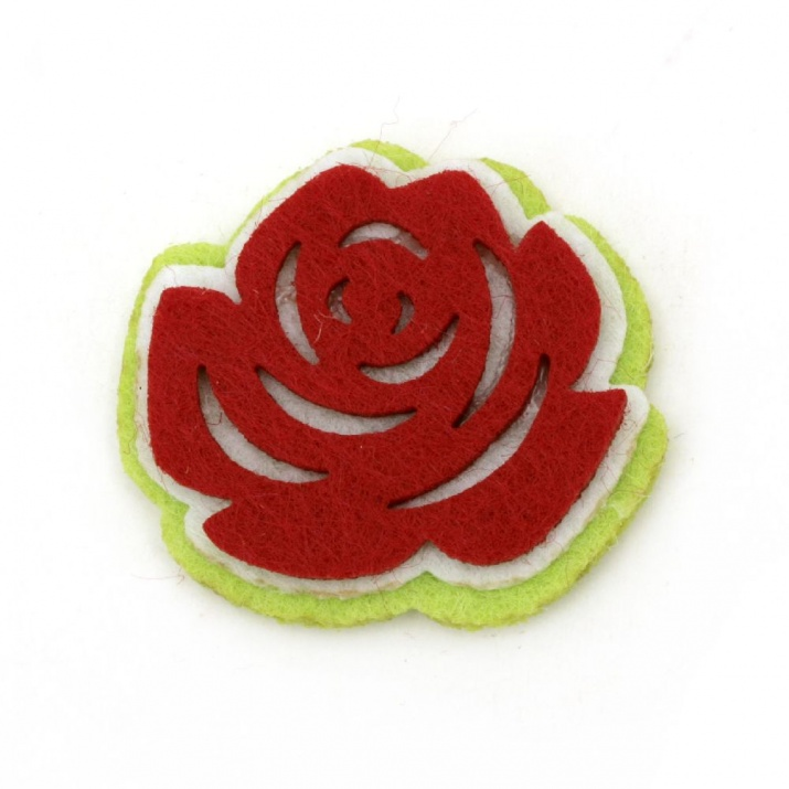 Роза филц 3 пласта с лепка 35x31 -10 броя