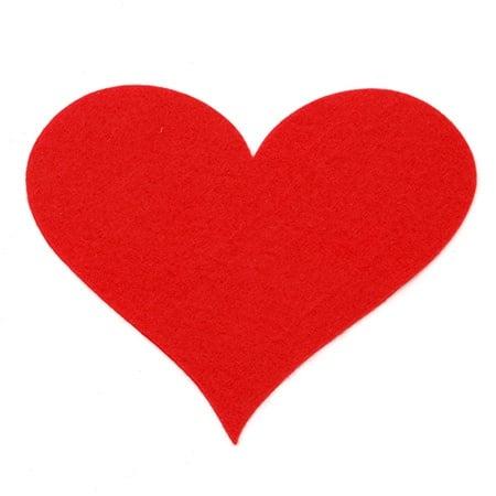 Сърце филц мек 150x138x1.5 мм червено -2 броя