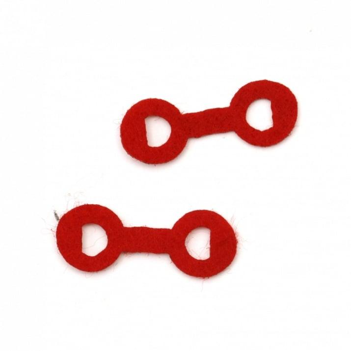 Фигурка филц 26x10 мм червена -20 броя