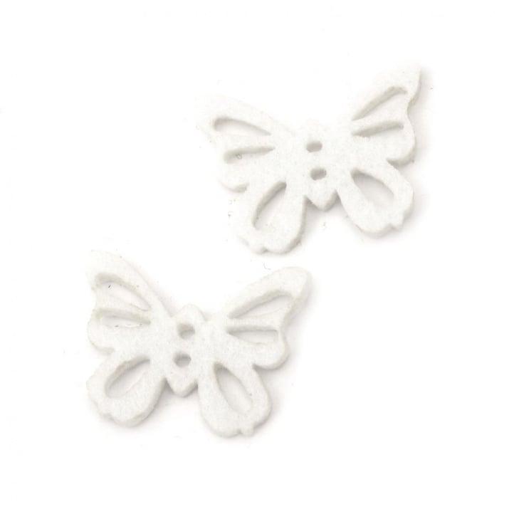 Пеперуда филц 35x27x3 мм бяла -10 броя