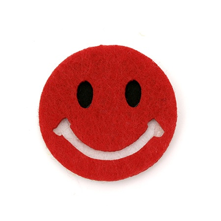 Усмивка филц 40x4 мм 3 пласта червена -5 броя