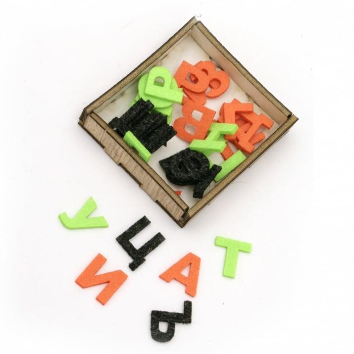 Букви от филц 20x2 мм от А до Я в кутия -30 броя