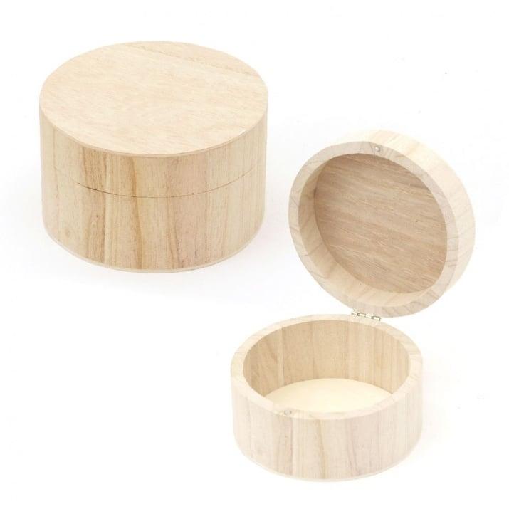 Кутия дървена 115x70мм кръгла