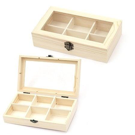 Кутия дървена 220x130x50 мм прозорче 6 разделения