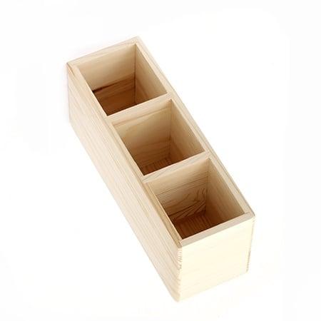 Моливник-органайзер дървен 240x78x100 мм три разделения