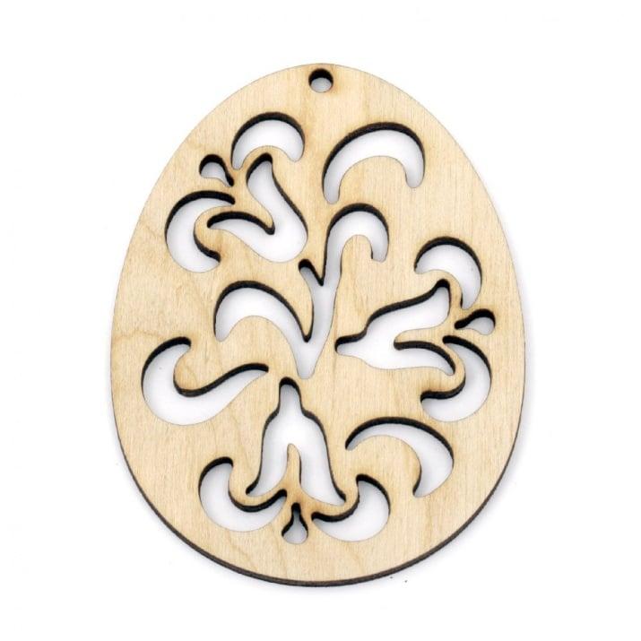 Фигурка дърво за декорация яйце с орнаменти 80x60x3 мм №V09