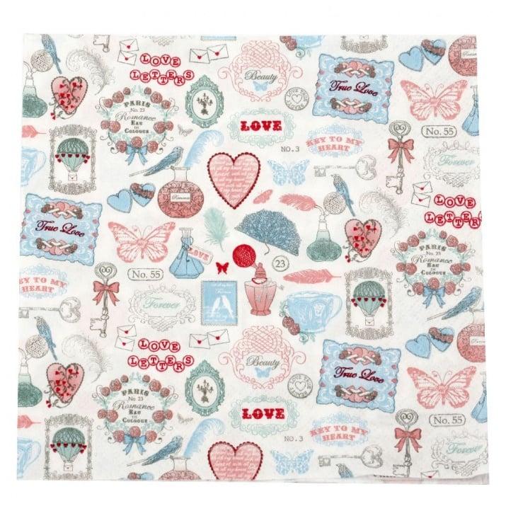 Салфетка HOME FASHION 33x33см трипластова Love Icons -1 брой